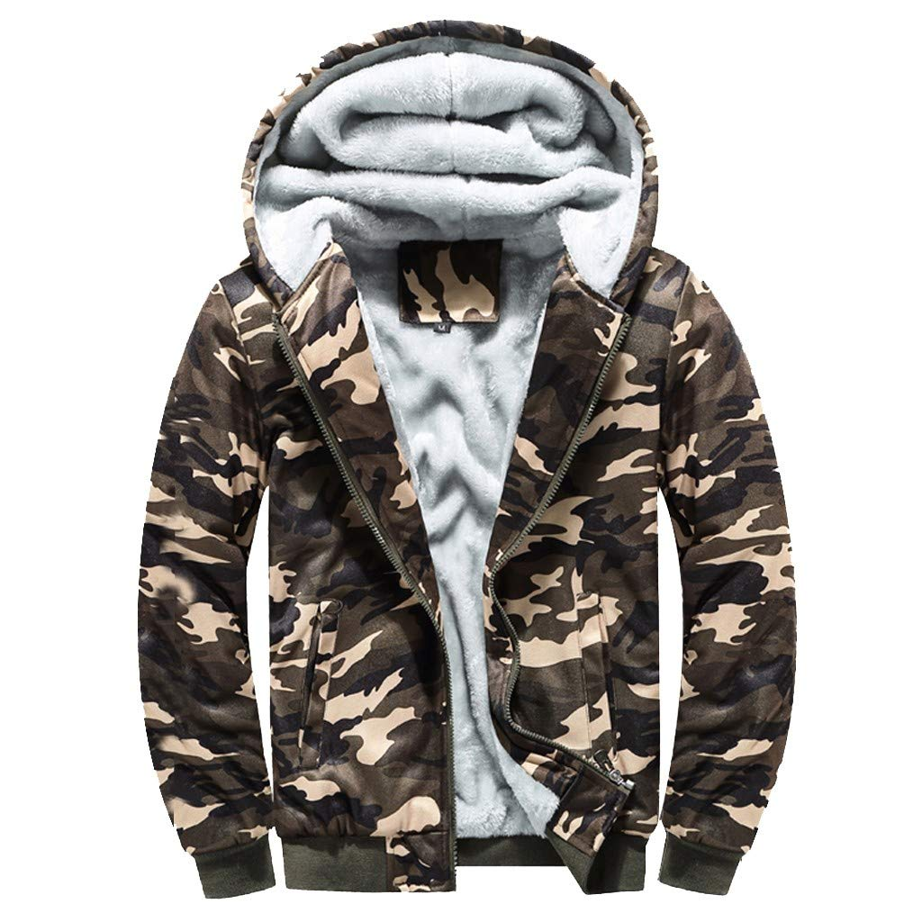 Han1dsome Men's Hoodie Camouflag Warm Fleece Sherpa Lined Zipper Sweater Windbreaker Jacket Outwear Coat Plus Size by Han1dsome