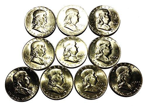 Half Roll (10) 1962-D Uncirculated GEM BU Franklin Half Dollar Silver Coins LOT