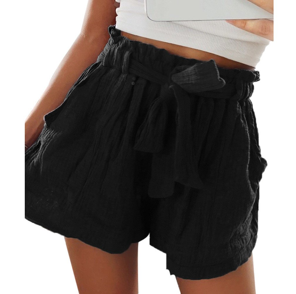 Clearance Sale!FarJing Women Hot Pants Casual Loose Shorts Beach High Waist Short Trousers (M, Black 2)