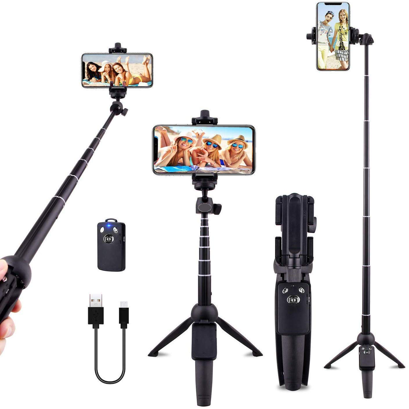 Andoer Selfie Stick Tripod 80CM Bluetooth Extendable 3 in 1 Aluminum Selfie Stick with Detachable Wireless Remote and Tripod Stand Compatible with iPhone Samsung and Android Smartphone