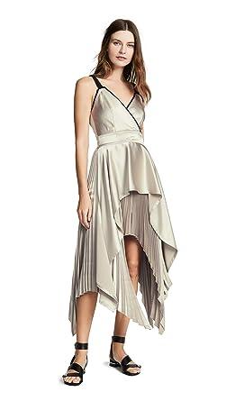 da4a66c1c891 Yigal Azrouel Women s Textured V Neck Pleat Dress at Amazon Women s ...