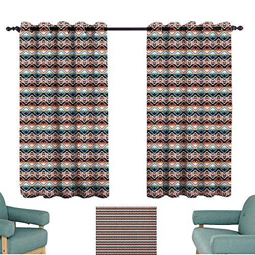WinfreyDecor Boho Heat Insulation Curtain Oriental Colorful Aztec Arrow Motifs with Horizontal Monochrome Stripes Background Home Garden Bedroom Outdoor Indoor Wall Decorations 72