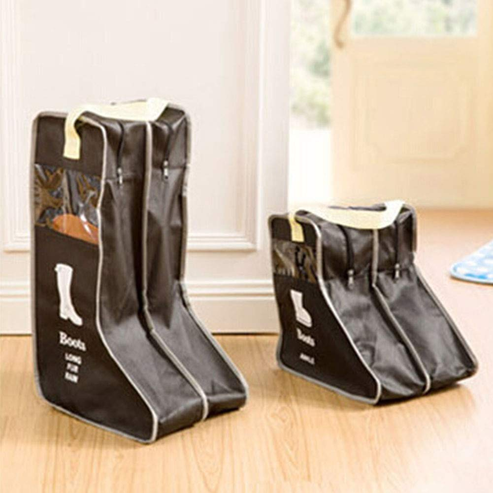 elegantstunning Portable Visible Dust Proof Boots Shoes Covers for Travel Storage Beige Small