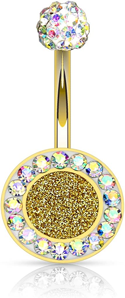 Sparkling PURPLE OPAL Belly Ring Barbell Gold Plated over 316L Surgical Steel 14g 10mm Curved Bar Basket Prong Set ball top choices