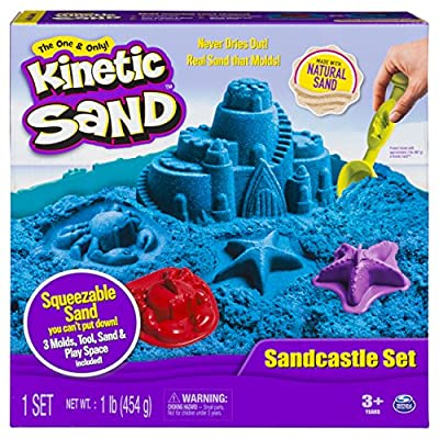 Kinetic Sand The One Only Sandcastle Set 1lb Sand, Molds Tools (Colors Vary): Toys & Games