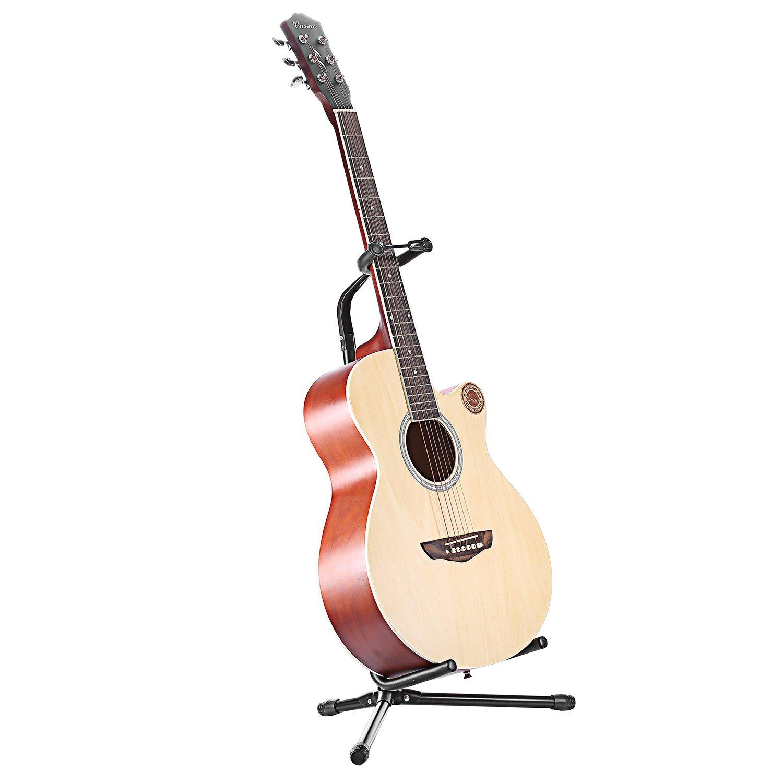 Neewer® Trípode de guitarra negro plegable hierro con protección de goma acolchado para guitarra eléctrica, acústica y bajo, altura regulable de 25 pulgadas ...