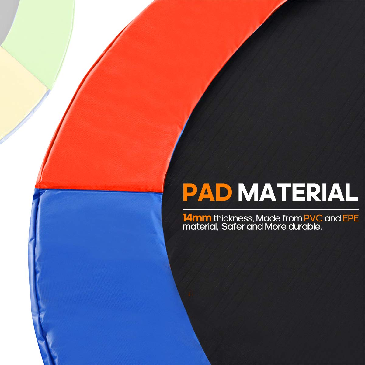 Rimdoc 12/14/15FT Trampoline Pad, PVC Trampoline Replacement Safety Pad,Waterproof Surround Edge Cover,Foam Round Frame Pad (Rainbow, 15FT)