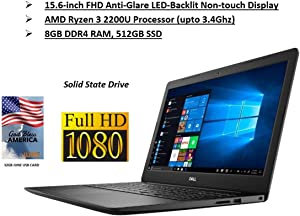 2020 Newest Dell 15 3000 Premium PC laptop: 15.6 FHD Non-Touch Display, AMD Dual-Core Ryzen 3 Processor(2.5GHz), 8GB Ram, 512GB SSD, Wifi, Bluetooth, WebCam, MaxxAudio, HDMI, Win10, June 32GB USB CARD