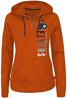 Majestic Philadelphia Flyers NHL Womens Rising 1 4 Zip Pullover Hoodie  Orange Plus Sizes a3dcdbd82