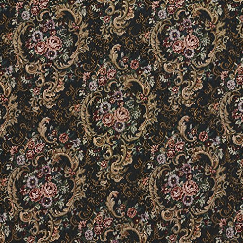 F642 Navy Gold and Burgundy Floral Tapestry Upholstery Fabric by The Yard from Discounted Designer Fabrics