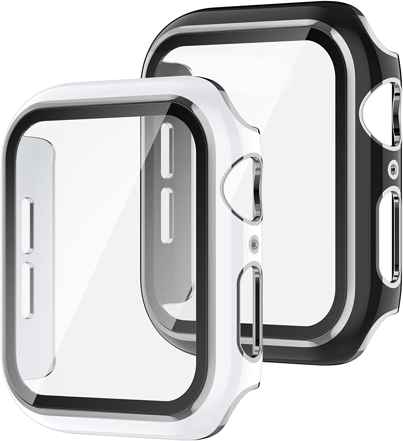 Recoppa 2 Pack Compatible Apple Watch Case 44mm with Tempered Glass Screen Protector, Silver Edge Full Coverage Hard PC Cover Protective Case for iWatch Series SE/6/5/4(Black/White Bumper)
