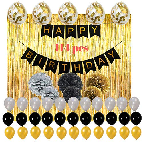 Happy Birthday Decorations Party Supplies Set, 114pcs Black And Gold Party Decorations Including Balloons, Fringe Curtain, Pom Poms Flowers, Banner, Perfect Birthday Party Supplies For Kids And Girls.