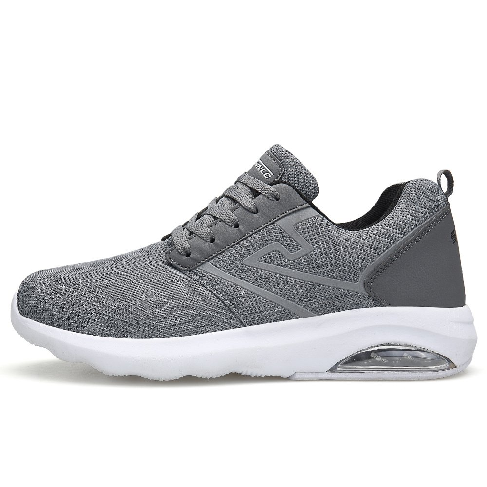 Pscownlg Men Running Shoes Air Cushion Lightweight Mens Sneakers Walking Shoes (8, Gray)