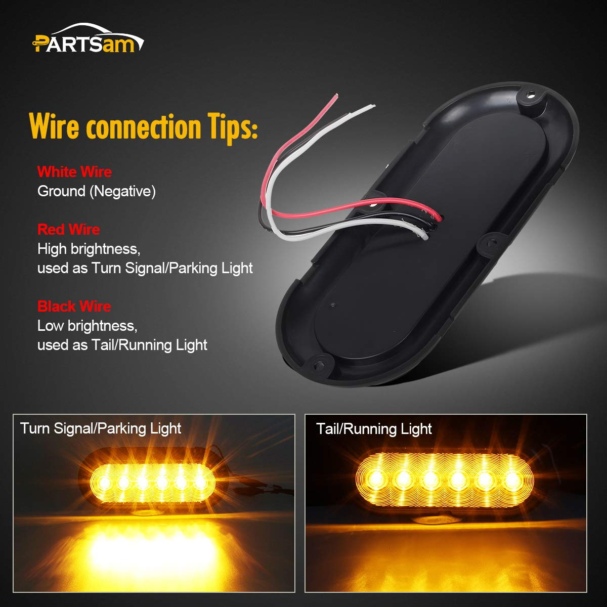 Partsam 6 Inch Oval Amber Lights Smoke Lens Led Wiring A Light Fixture With Red Black And White Wires Surface Mount Smoked Turn Signal Side Marker Tail Parking
