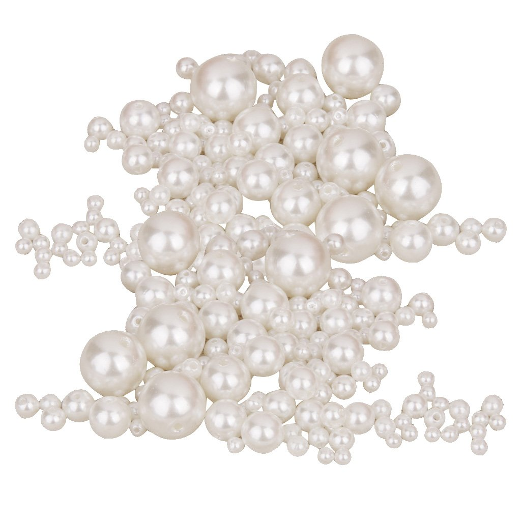 300pcs Assorted Size Round Resin Faux Pearl Beads for Sewing Decoration DIY