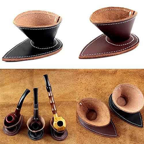 Handmade Genuine Leather Smoking Pipe Stand For Single Tobacco Pipe Rack Holder