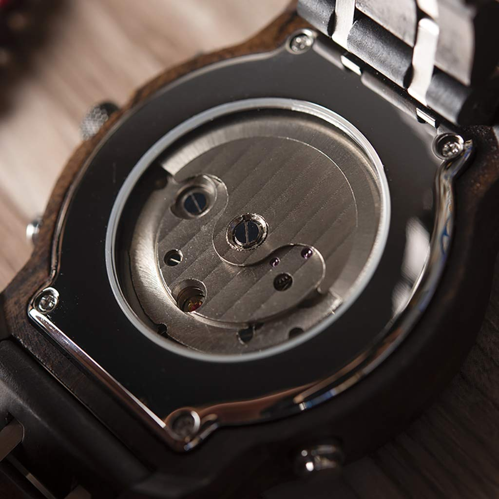 HJG träklocka herr Tourbillon automatisk mekanisk klocka vattentät klocka klocka klocka låda (färg: B) b