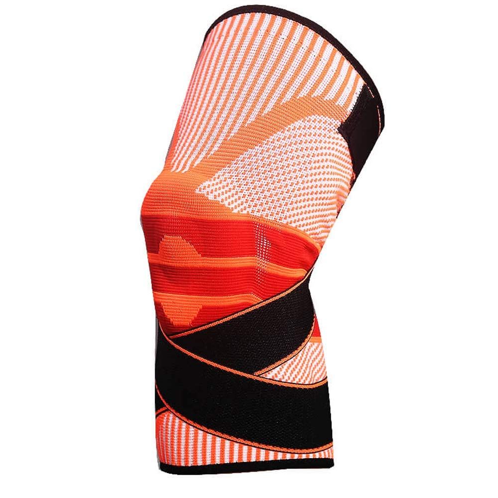 orange Strong Support Knee Pads Sports Basketball Men's Meniscus Injury Professional Support Knee Predector Ladies Outdoor Running Mountaineering Fitness to Solve The Problem of Slip