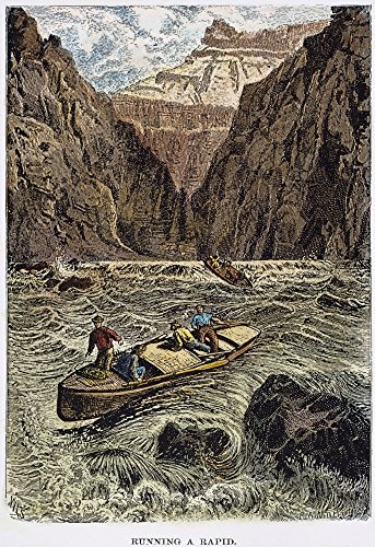 - John Wesley Powell N(1834-1902) And His Expedition Running The Rapids Of The Colorado River In The Grand Canyon In August 1869 Wood Engraving 19Th Century Poster Print by (18 x 24)