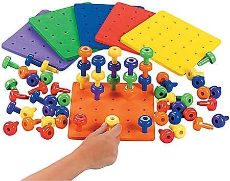 Fun Express Stack It Peg Juego con Tabla de Terapia Ocupacional para el Autismo, 2 Boards and 60 Pegs: Amazon.es: Juguetes y juegos