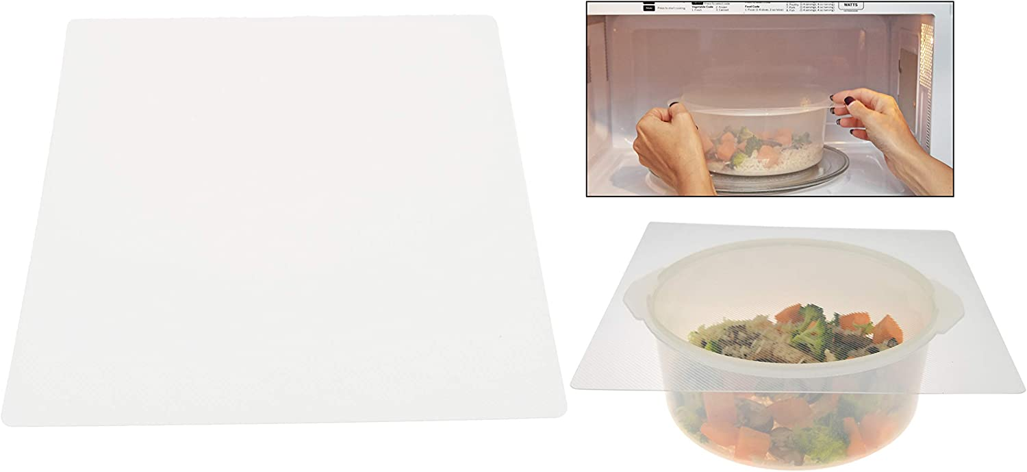 HOME-X Microwave Splatter Screens-Safe Covers, Splatter Guard, Clean Kitchen, Heating Cooking, Shield Guard, Accessories-Set of 2-Clear