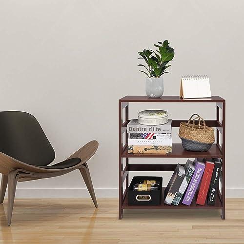 SSLine Storage Rack Wood Shelf 3 Tier Bookcase Shelf Storage Organizer