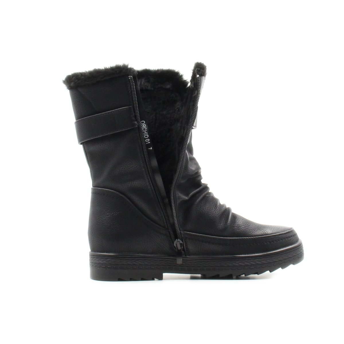 Stylish /& Comfort Womens Slouchy Mid-Calf Fur Lined Interior Winter Boots with Side Zipper Warm Shoes