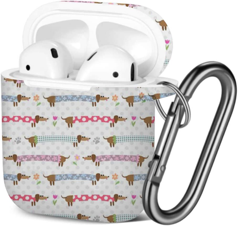 Compatible with AirPods 2 and 1 Cute Dachshunds Striped Shockproof Soft TPU Gel Case Cover with Keychain Carabiner for Apple AirPods