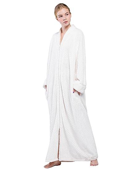 Belloo Ladies Full Long Fleece Dressing Gown Zip Up White Xl