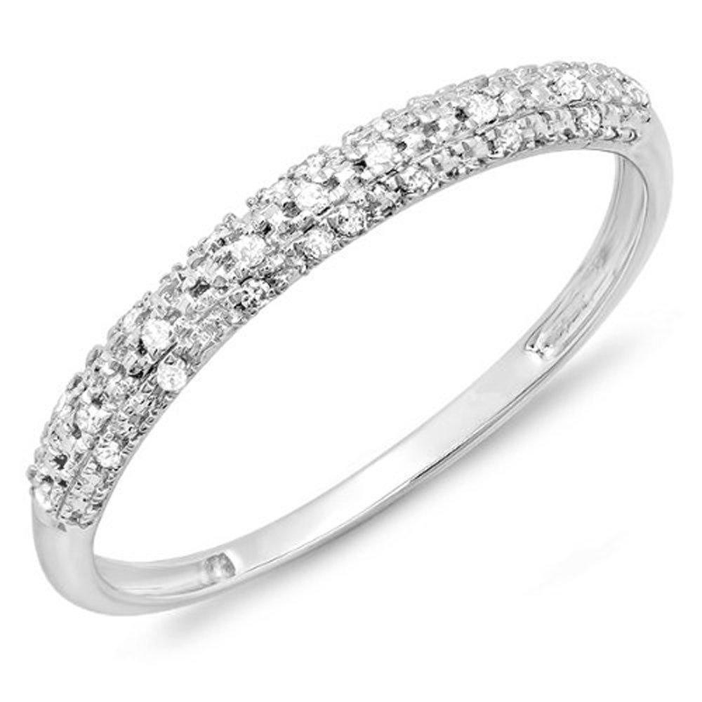 0.10 Carat (ctw) 18k White Gold Round Diamond Ladies Anniversary Wedding Band Stackable Ring 1/10 CT (Size 6)