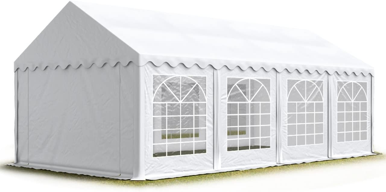 TOOLPORT 4x8 m Marquee Party Tent Heavy Duty 500gm² PVC Waterproof Tarpaulin All Year Use Wedding Event white