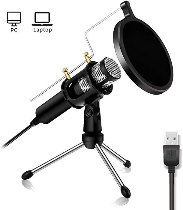 USB Microphone NASUM Computer Microphone,Plug &Play Home Studio Microphone,Condenser Microphone,Dual-Layer Acoustic Filter, for YouTube,Facebook,Skype,Google Search,Podcasting, Games (USB)
