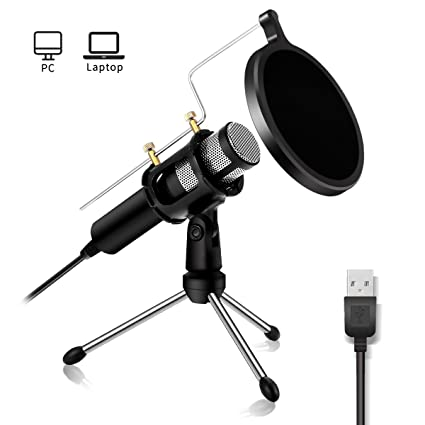 Usb Microphone Nasum Computer Microphone,Plug &Play Home Studio Microphone,Condenser Microphone,Dual Layer Acoustic Filter, For You Tube,Facebook,Skype,Google Search,Podcasting, Games (Usb) by Nasum