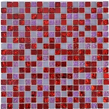 Carrelage mosaïque rouge translucide Rose Blanc Verre Mosaïque ...