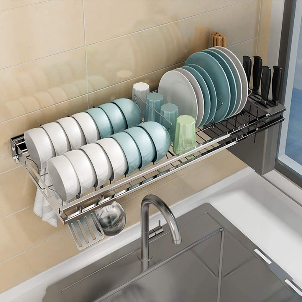 Amazon Com Colture Over The Sink Dish Drying Rack Hanging Stainless Steel Dish Drainer Dryer Rack With Knife Utensil Holder Hooks Space Saver For Kitchen Supplies Storage Organizer Shelf Counter Top Silver