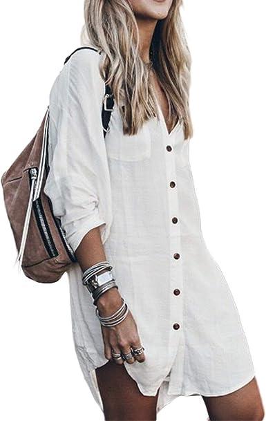Camisa Casual de algodón de Blusa de Lino Alta para Mujer Vestido de Manga Larga Tops: Amazon.es: Ropa y accesorios