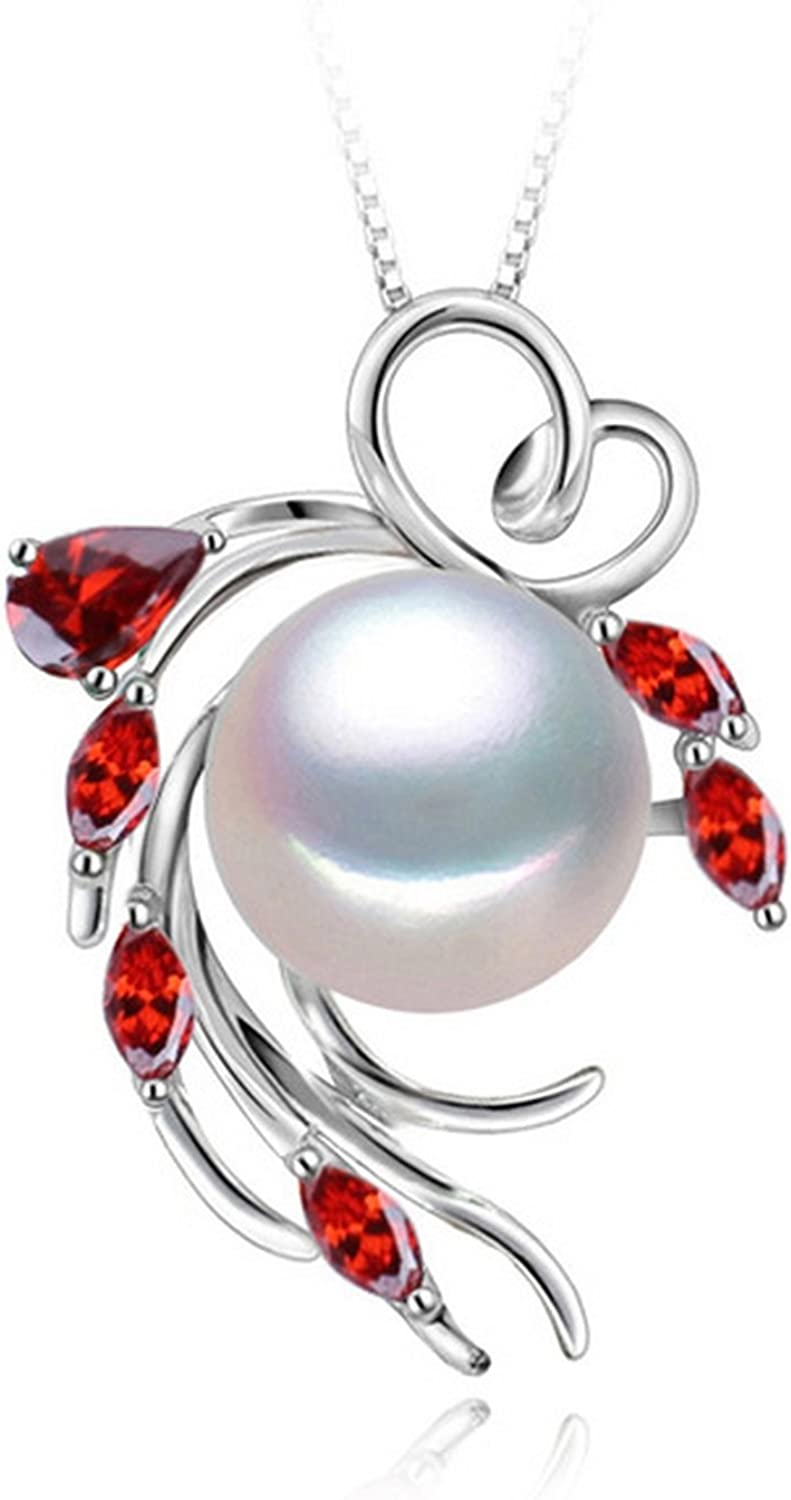 CS-DB Pendants Ruby Double Pearl Silver Necklaces
