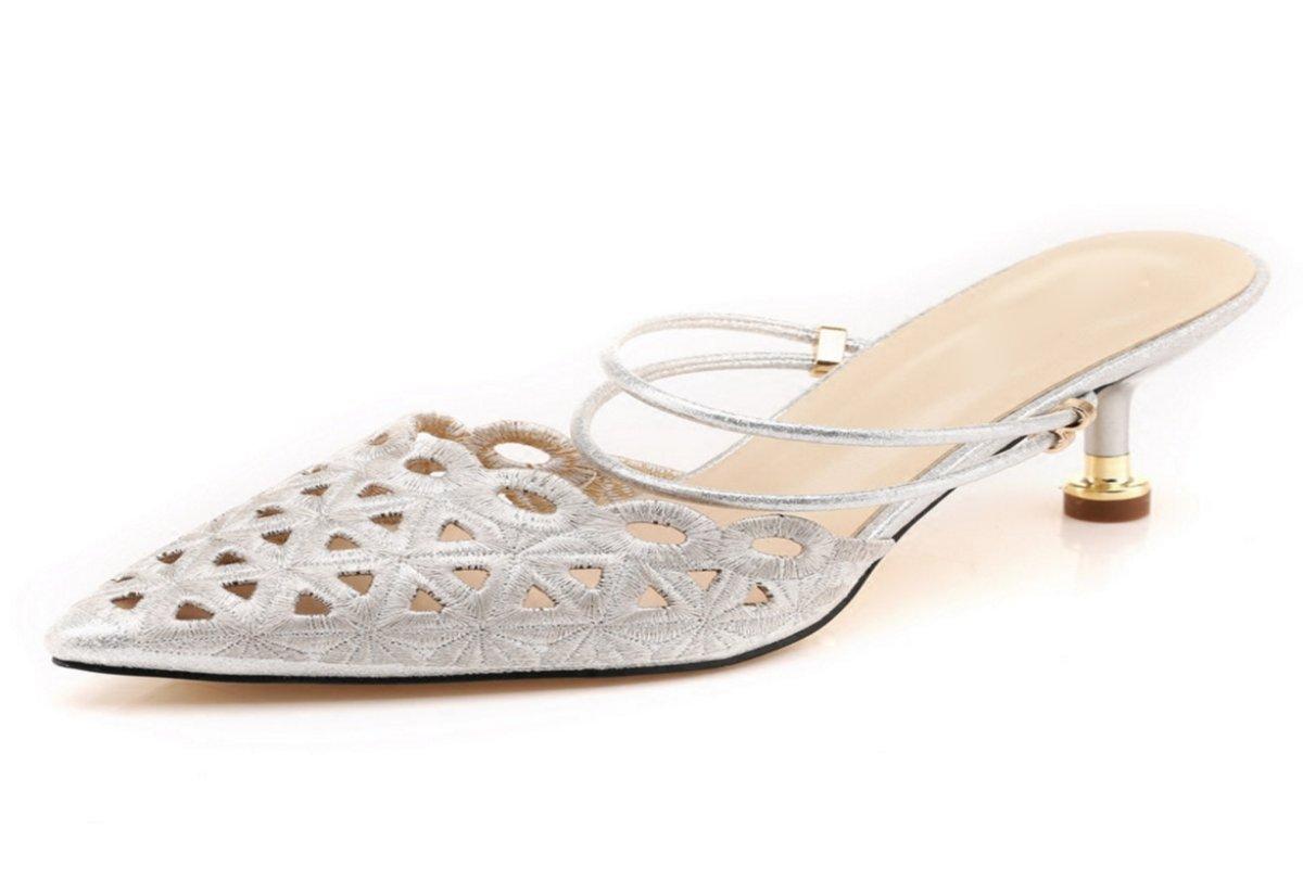 HBDLH Damenschuhe/Spitz und Ferse Baotou Mode Cool Hausschuhe Outdoor - Anhänger Tragen Sommer Aufgewölbte 5Cm Schuhe mit Hohen Absätzen.