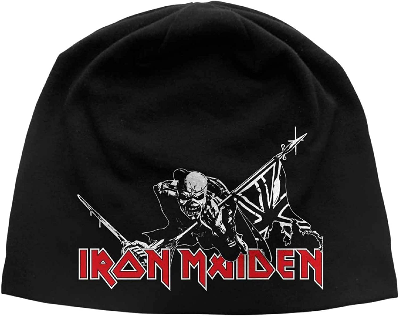 G/én/érique Iron Maiden Bonnet Cap The Trooper Classic Logo Officiel Noir Jersey Print Size One Size