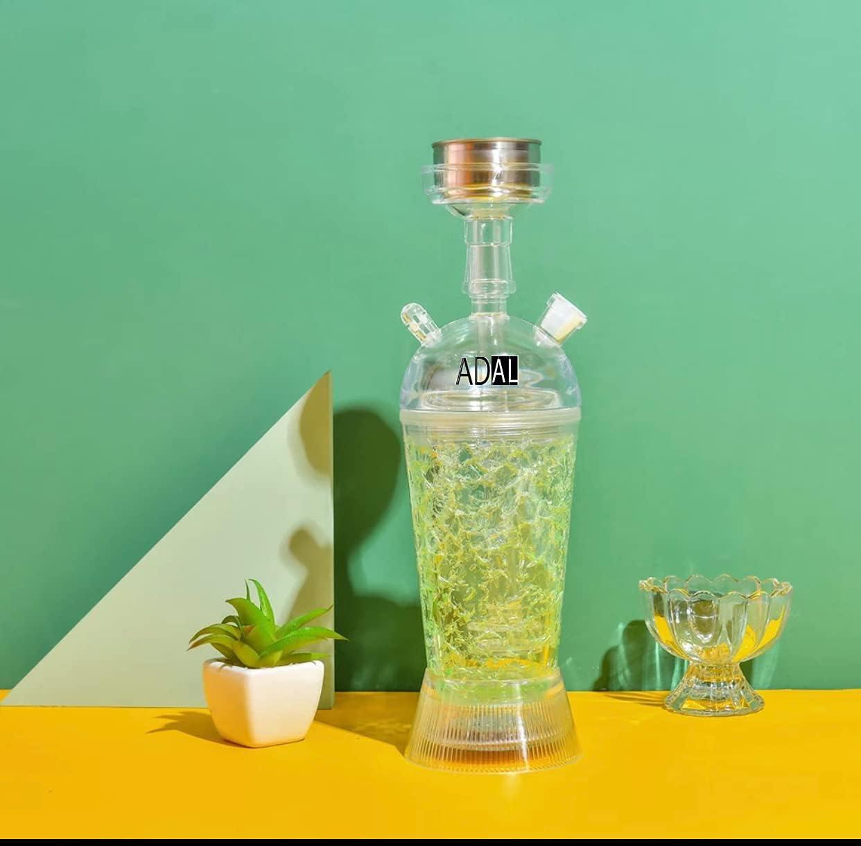 ADAL Shisha Ice Shisha | Refrigerador de humo | Shisha ICE Travel Shisha | Juego completo que incluye base LED extraíble + pinzas y manguera | Para casa y de viaje | plexiglás – acrílico (verde)