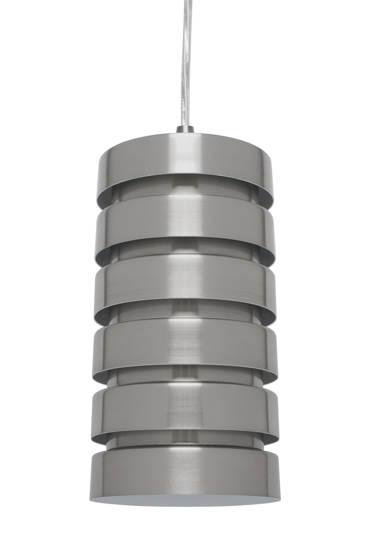 Kira Home Aura 9.5'' Modern Pendant Light + Stacked Shade, 1 Light Industrial Hanging Lamp, Adjustable Wire, Brushed Nickel Finish