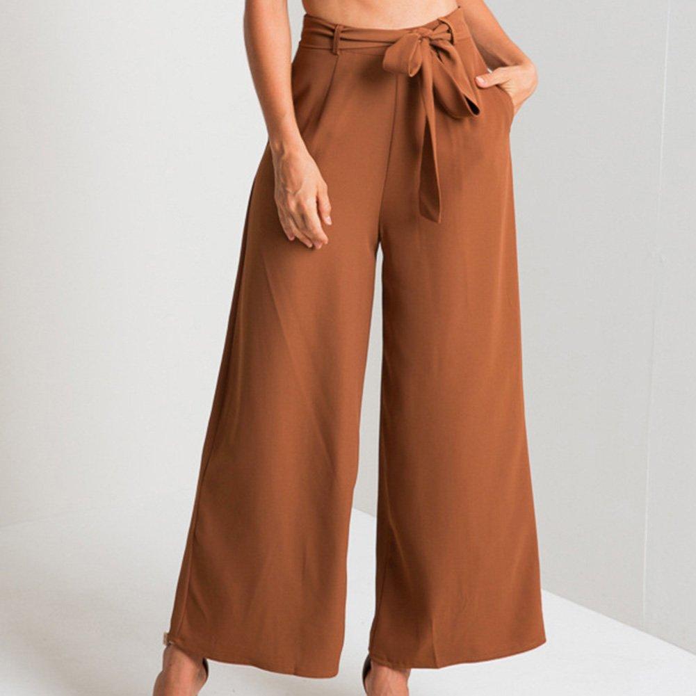Donna Gamba Larga Pantaloni Mode Tinta Unita Loose Chiffon Pantaloni Vita Alta Lunghi Primavera Estivi Pantaloni Ufficio Casuale Pantaloni con Cintura