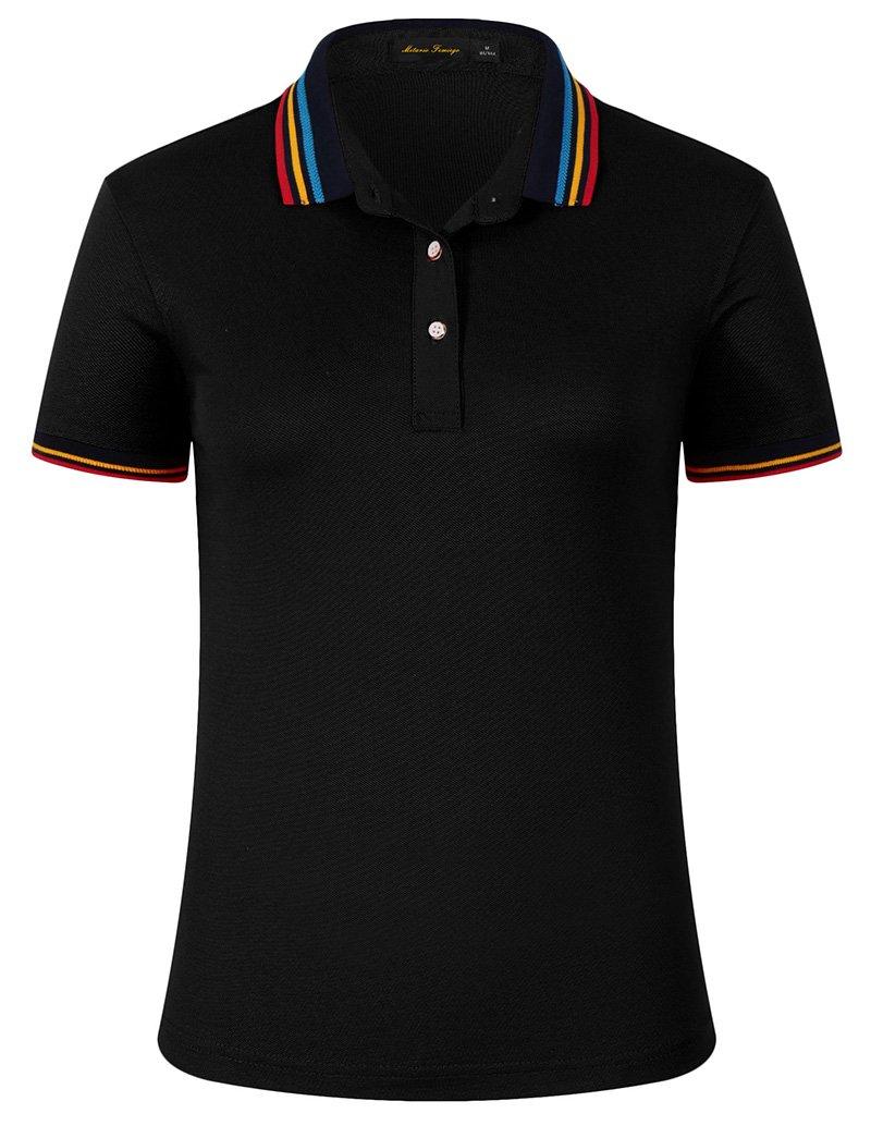 Mitario Femiego Women Classic Rainbow Stripe Collar Slim Fit Short Golf Polo Shirt Black S