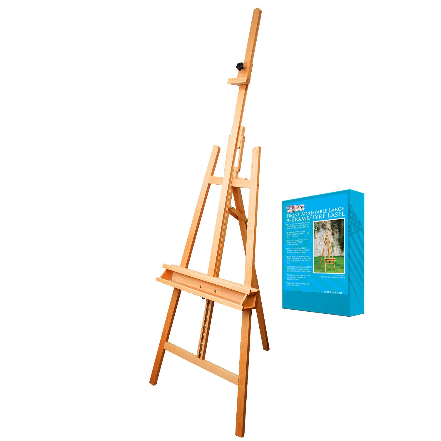 US Art Supply SUNSET 64'' to 89'' High LARGE Refined Sturdy Inclinable Wood Artist Lyre Easel