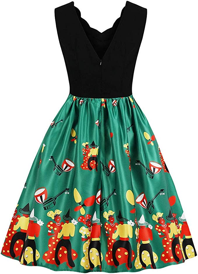 Momoxi damska sukienka bez rękawÓw, bez rękawÓw, w stylu retro, z głębokim dekoltem w serek, na Halloween, Boże Narodzenie, spÓdnica z piÓrami, bawarska sukienka wieczorowa na Okto