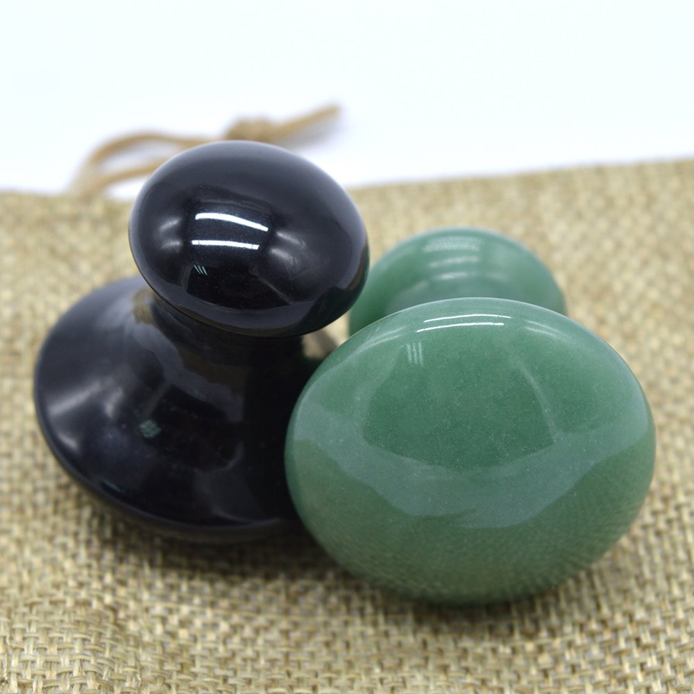 Obsidian & Green Aventurine Mushroom Massage Stones SPA Energy Stones For Therapy(2 PCS Packing)