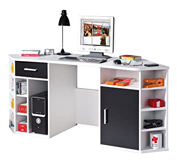 Eckschreibtisch schwarz weiß  Links 13300200 Schreibtisch Eckschreibtisch weiß schwarz ...