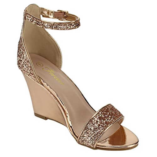 ed0e81176c5 Forever FQ13 Women s Glitter Ankle Strap Wrapped Wedge Heel Dress Sandals  Half Size Big