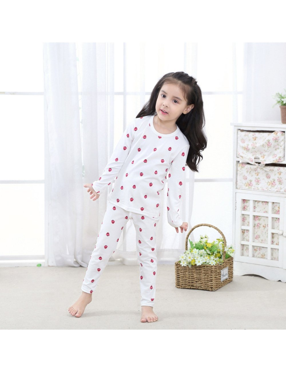Menschwear Girl's Elastic Thermal Underwear Set Long Top and Bottom (120CM,White) by Menschwear (Image #4)