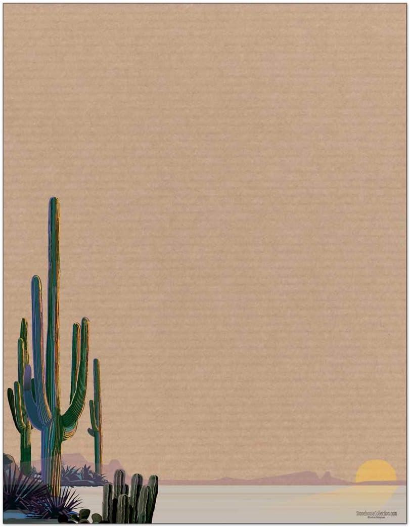 Western Stationery - 8.5 x 11 - 60 Cacus Letterhead Sheets - Saguaro Cactus Paper -Desert Letterhead